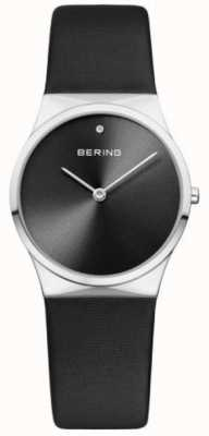 Bering Womans Classic Satin Strap With Sunray Dial Black 12130-602