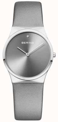 Bering Womans Classic Satin Strap With Sunray Dial Silver 12130-609