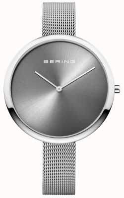 Bering Womans Classic Milanese Strap Sunray Dial Silver 12240-009