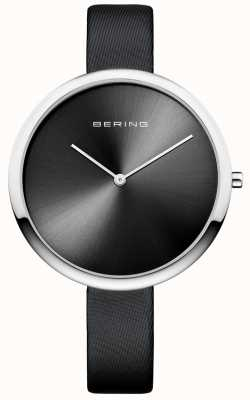 Bering Womans Classic Satin Leather Strap Sunray Dial Black 12240-602