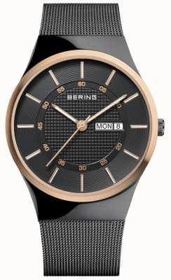 Bering Mens Classic Multifunction Black Mesh Bracelet 12939-166
