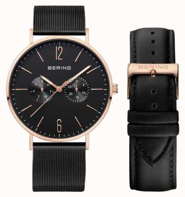 Bering Mens Multifunction With Black Milanese And Leather Strap 14240-166