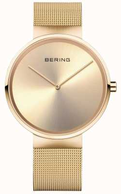 Bering Unisex Classic Gold Milanese Strap With Gold Case 14539-333