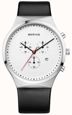 Bering Mens Classic White Chronograph Black Leather Strap 14740-404