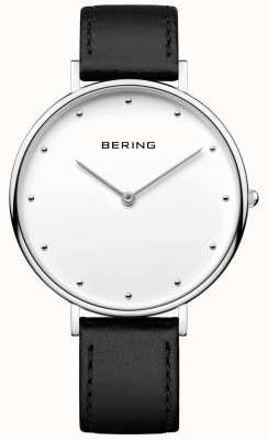 Bering Unisex Classic Black Leather Strap Watch 14839-404