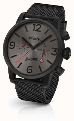 TW Steel Mens Son Of Time 47mm Chrono Black Mesh And Leather MST4