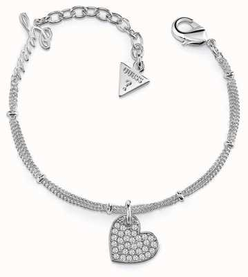 Guess My Sweetie Heart Charm Bracelet Rhodium UBB84077-L