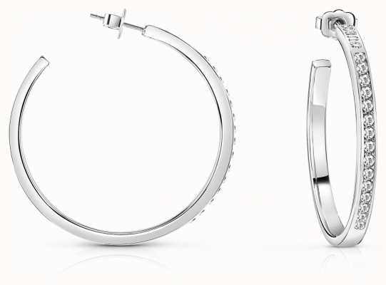 Guess G Colors Crystal Clear Hoop Earrings Rhodium UBE84092