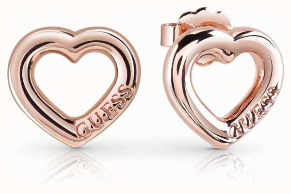 Guess Grace Bold Heart Charm Studs Rose Gold UBE84022