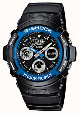 Casio Mens G-SHock Alarm Chrono Rubber Strap Blue AW-591-2AER