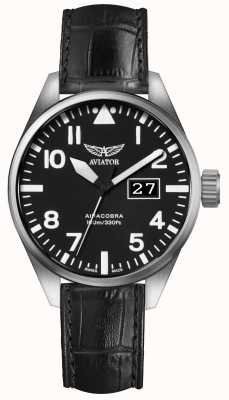 Aviator Mens Airacobra P42 Black Leather Strap Black Dial V.1.22.0.148.4