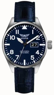Aviator Mens Airacobra P42 Blue Leather Strap Blue Dial V.1.22.0.149.4