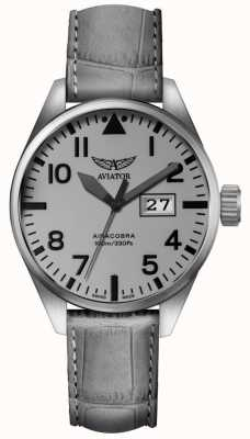 Aviator Mens Airacobra P42 Grey Leather Strap Grey Dial V.1.22.0.150.4