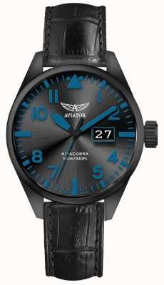 Aviator Mens Airacobra P42 Black Leather Strap Black Dial V.1.22.5.188.4
