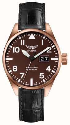 Aviator Mens Airacobra P42 Black Leather Strap Brown Dial V.1.22.2.151.4