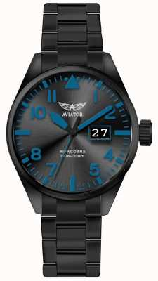 Aviator Mens Airacobra P42 Black PVD Plated Bracelet Black Dial V.1.22.5.188.5