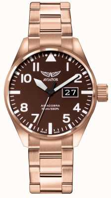 Aviator Mens Airacobra P42 Brown PVD Plated Bracelet Brown Dial V.1.22.2.151.5