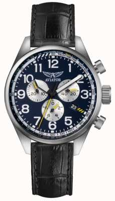 Aviator Mens Airacobra P45 Chrono Black Leather Strap Blue Dial V.2.25.0.170.4
