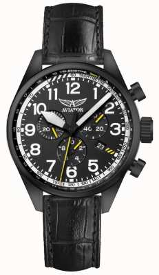 Aviator Mens Airacobra P45 Chrono Black Leather Strap Black Dial V.2.25.5.169.4