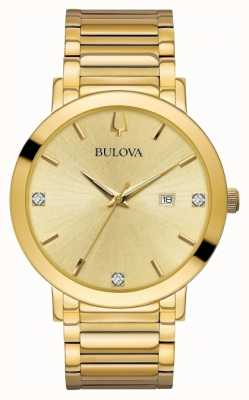 Bulova Mens Diamond Set Gold Tone Watch 97D115