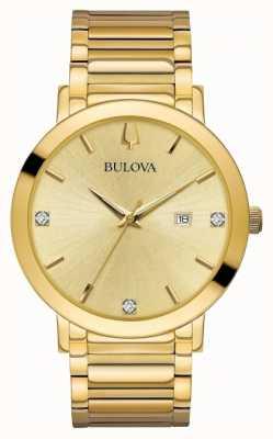 Bulova Mens Diamond Set Gold Tone Watch 97D115