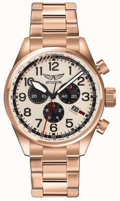 Aviator Mens Airacobra P45 Chrono Rose Gold Plated Cream Dial V.2.25.2.173.5