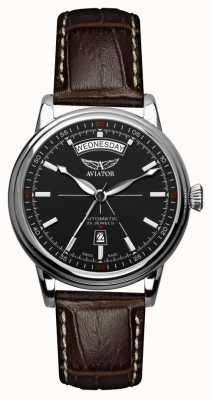 Aviator Mens Douglas Brown Leather Strap Black Dial V.3.20.0.142.4
