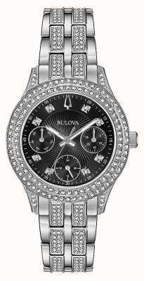 Bulova Womens Crystal Black Chronograph Watch 96N110
