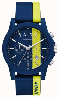 Armani Exchange Mens Blue Stripe Silicone Chronograph AX1332