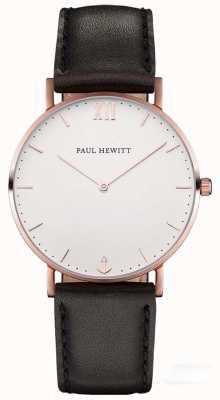 Paul Hewitt Unisex Sailor Black Leather Strap PH-SA-R-SM-W-2M