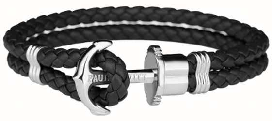 Paul Hewitt Phrep Silver Anchor Black Leather Bracelet Large PH-PH-L-S-B-L