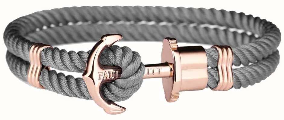 Paul Hewitt Jewellery Phrep Rose Gold Anchor Grey Nylon Bracelet XX Large PH-PH-N-R-GR-XXL