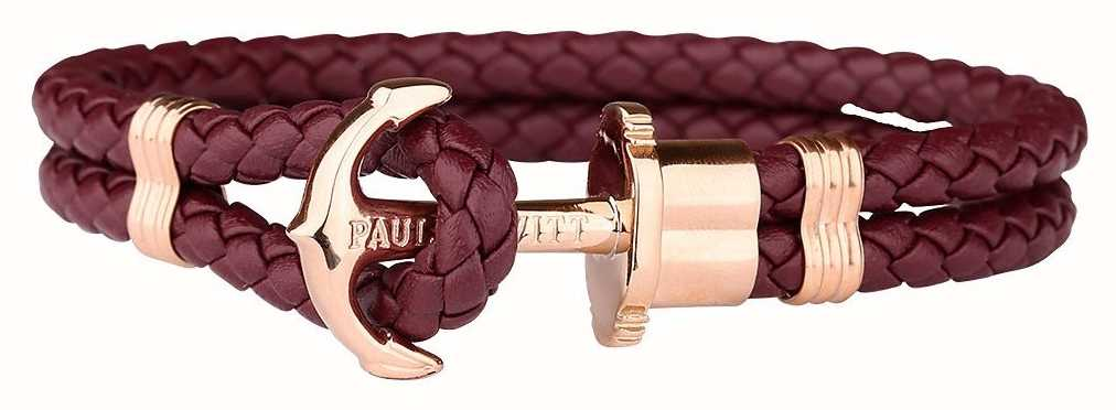 Paul Hewitt Jewellery Phrep Rose Gold Anchor Berry Leather Bracelet XX Large PH-PH-L-R-DB-L