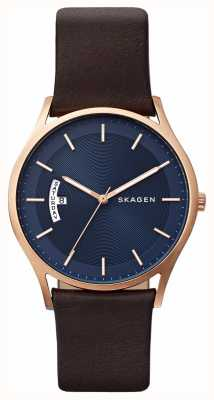 Skagen Mens Brown Leather Blue Dial Detail Watch SKW6395