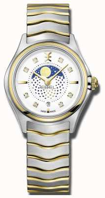 EBEL Womens Wave Diamond Set Two Tone Moonphase Watch 1216373