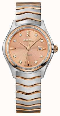 EBEL Womens Wave Diamond Set Two-tone Rose-gold Watch 1216328