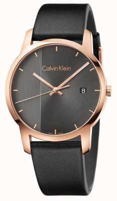 Calvin Klein | Mens Black Leather City Watch | K2G2G6C3