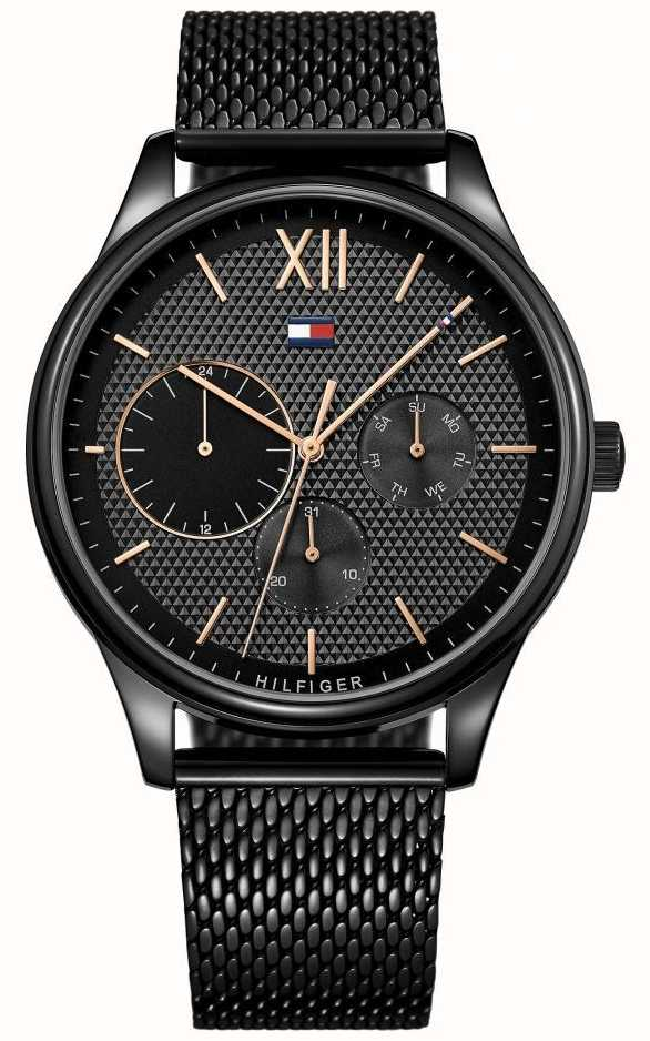 b07bf31fa369 Tommy Hilfiger Mens Damon Black IP Mesh Watch 1791420 - First Class ...