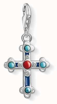 Thomas Sabo Ethnic Cross Sterling Silver Charm 1466-335-7