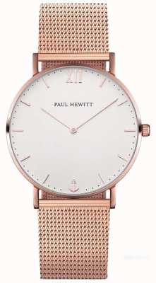 Paul Hewitt Unisex Sailor 39mm Rose Gold Mesh Bracelet PH-SA-R-ST-W-4M