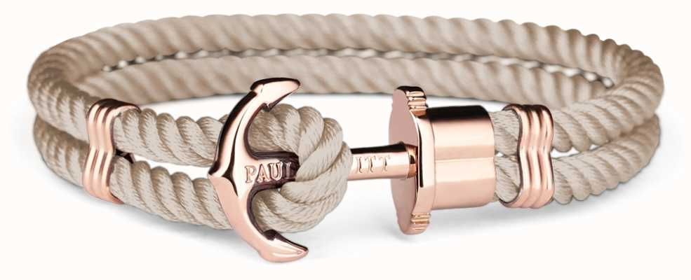 Paul Hewitt Phrep Rose Gold Anchpr Hazlenut Nylon Bracelet Medium PH-PH-N-R-H-M