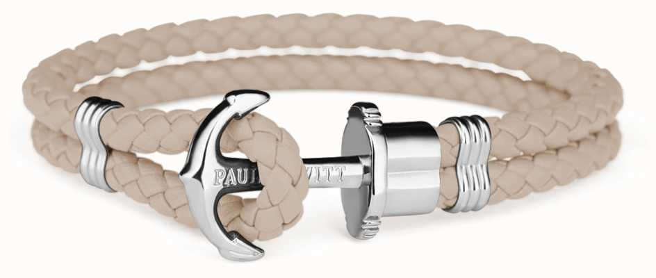 Paul Hewitt Jewellery Phrep Silver Anchor Hazlenut Leather Bracelet Medium PH-PH-L-S-H-M
