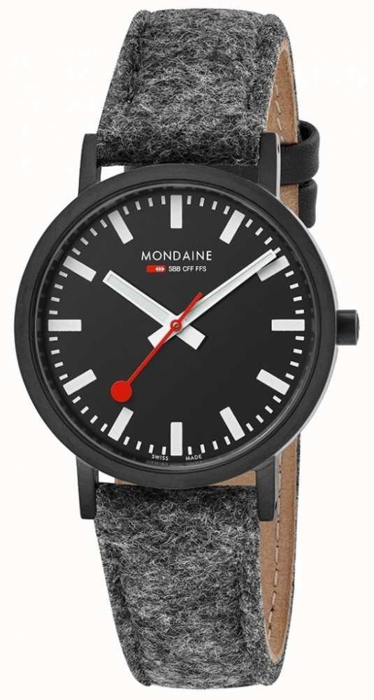 Mondaine Unisex Classic Black Dial Dark Grey Felt Leather Strap A660 ... 5141cb0ce0