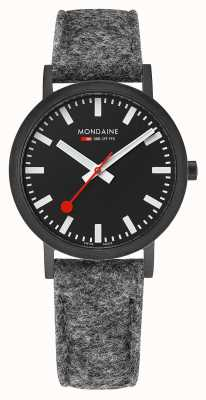 Mondaine Unisex Classic Black Dial Dark Grey Felt Leather Strap A660.30314.64SBH