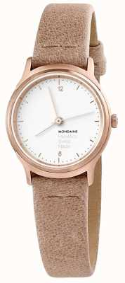 Mondaine Womans Helvetica No.1 Light Apricot Leather Watch MH1L1111LG