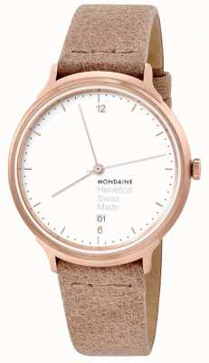 Mondaine Unisex Helvetica No.1 Light Apricot Leather Strap MH1L2211LG