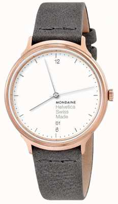 Mondaine Unisex Helvetica No.1 Light Grey Leather Strap MH1.L2210.LH