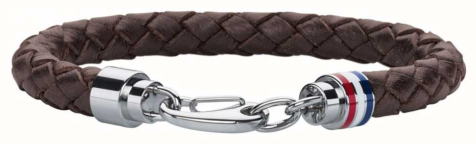Tommy Hilfiger Mens Brown Leather Stainless Steel Bracelet 2700530