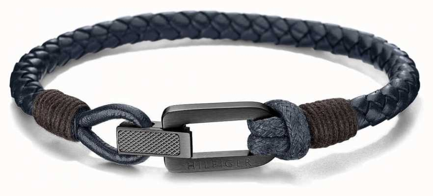 Tommy Hilfiger Braided Blue Leather Bracelet 2701013