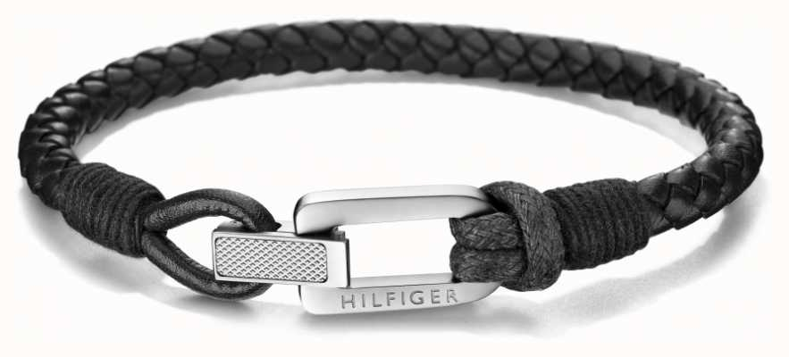 Tommy Hilfiger | Mens | Black Leather Bracelet | 2701012